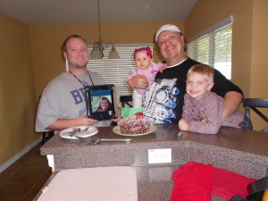 My son and daughter, via skype, and grandkids Celebrate my Birthday!