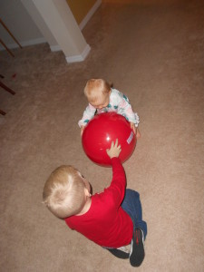 Every daycare needs one-- a bright red ball! Perfect!