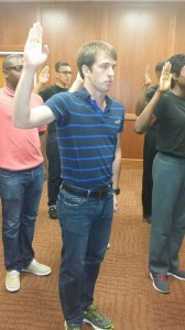 Hunter being sworn in March 2014-- he went in a boy-- came out a Man!